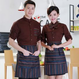 新款咖啡店服務員短袖工作服春夏裝男女飯店快餐制服工裝餐廳