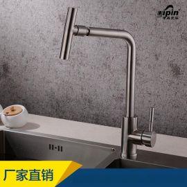 伊品卫浴81007 304不锈钢三通菜盆龙头单孔可旋转厨房万向水龙头