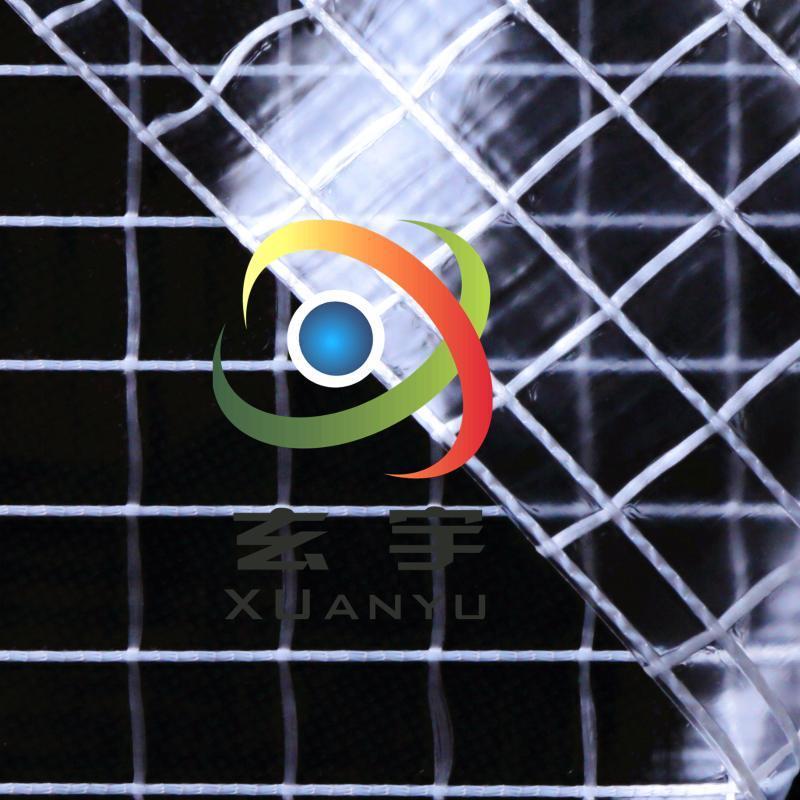 现货供应箱包手袋防尘帘1000D(10*10)大方格PVC透明夹网布