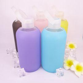 创意礼品硅胶玻璃杯手提带果冻杯硅胶套可爱学生儿童水瓶情侣