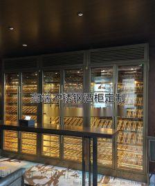 廠家定制 酒莊不鏽鋼恆溫酒櫃 別墅不鏽鋼玻璃酒櫃