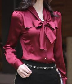 高级OL通勤蝴蝶结气质长袖仿真丝商务女衬衫