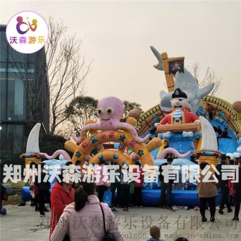 沧州充气城堡厂家,带螺旋滑梯的叫巨鲨来袭充气蹦蹦床
