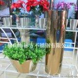 天津 酒店用香槟金圆锥组合不锈钢大花盆加工定制