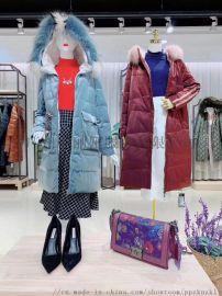 广州品牌折扣女装中长款民族风系列羽绒服尾货走份