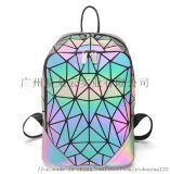 新款現貨PU幾何菱格 射雙肩包時尚百搭便截式夜光旅行書包