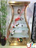 香槟金/玫瑰金不锈钢酒柜,深圳/北京高档圆形/弧形创意艺术拉丝不锈钢酒柜