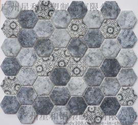 六邊形玻璃馬賽克GY021