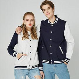 新款工服春季學生立領衛衣開衫加絨拼色長袖棒球服外套
