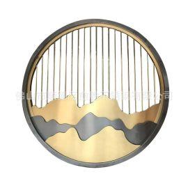 佛山不锈钢玻璃屏风 水墨山水夹丝玻璃屏风可做移门隔断厂家