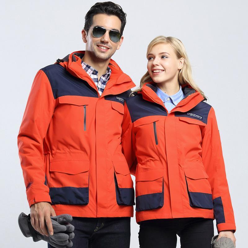 廠家直銷冬款女兩件套衝鋒衣定製logo工作服男款三合一防風防寒服