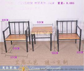 简约铁艺办公家具 复古实木电脑电视桌