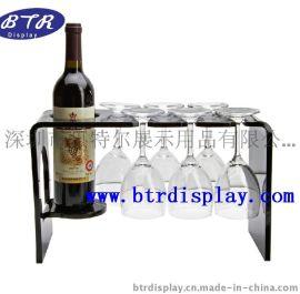 亚克力酒杯架红酒杯架透明酒瓶展示架