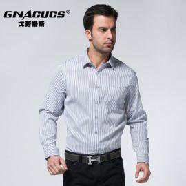 专柜  戈劳恪斯衬衫 男士全棉条纹衬衫 方领商务长袖衬衣批发