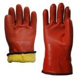 防寒手套 山東順興PVC手套廠家 浸塑保暖手套 棕色砂面開司米拉毛內套