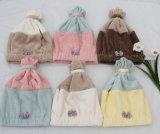 韩式新品可爱蝴蝶结珊瑚绒卡通干发帽束发带
