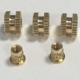 专业生产滚花铜螺母/铜卡件/注塑铜螺母/铜嵌件
