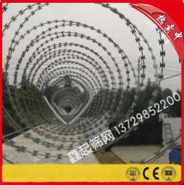 304不锈钢刀片刺网/刀片刺绳防护网/螺旋型拉力刮刀防盗绳不锈钢