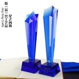 双星奖杯 水晶奖杯 蓝色水晶奖杯 厂家雕字