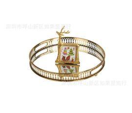 欧式北欧美式金色圆形金属果盘蛋糕盘水果盘托盘样板间软装摆件