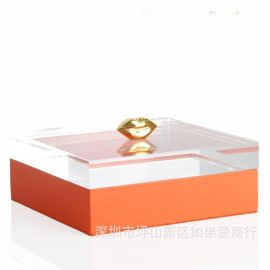 橙色正方形木质烤漆金色嘴唇合金首饰盒饰品欧式创意客厅卧室摆件