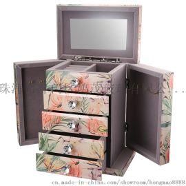 鸿茂工厂代加工定制玻璃珠宝盒镜面首饰盒收纳盒