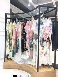 时尚女装品牌丝辉印月真丝连衣裙18年夏装尾货折扣