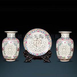 欧式复古创意摆件陶瓷插花三件套摆件