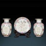 歐式復古創意擺件陶瓷插花三件套擺件