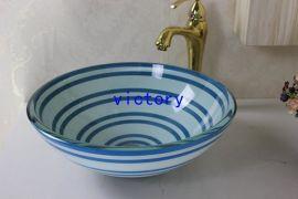 手绘艺术钢化玻璃洗手盆 洗漱盆 梳妆盆 台上盆 钢化玻璃洗手池 特价促销N-113