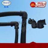 塑料波纹管弯通接头 90度软管对接变径等径双向两通接头 黑色现货
