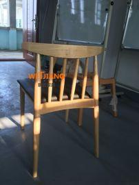 新款北欧实木小牛角椅西餐厅酒店靠背椅子