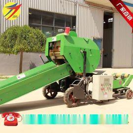 青贮饲料包膜打捆机|厂家直销玉米秸秆青贮料自动打捆包膜机