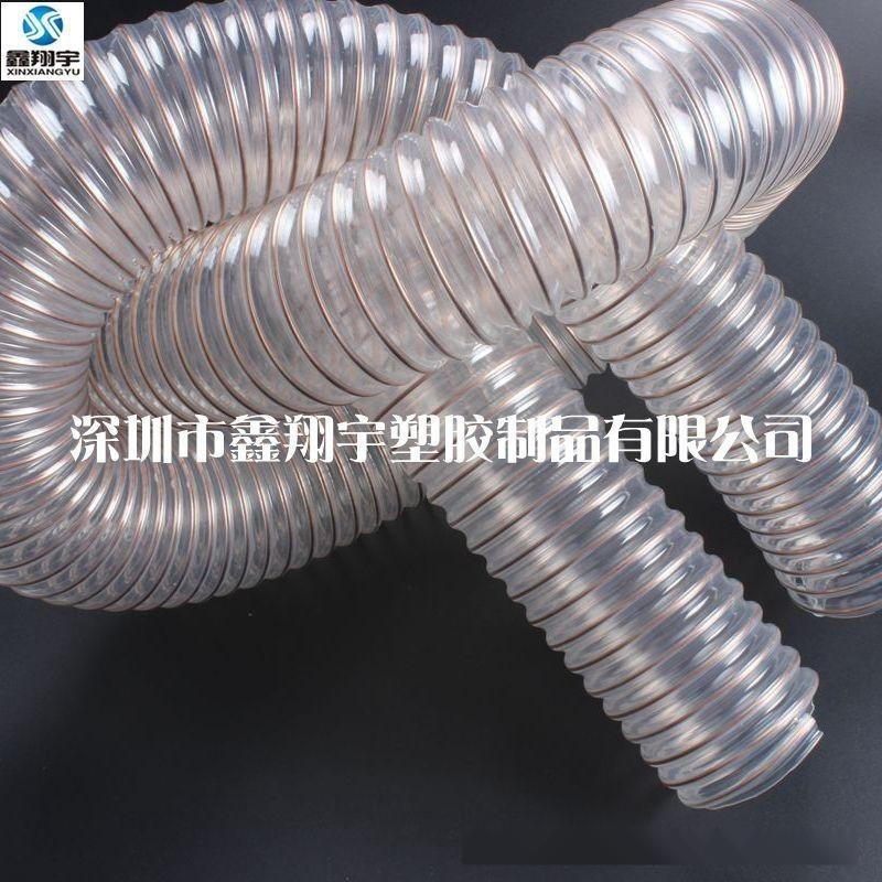 鑫翔宇厂家批发pu透明镀铜钢丝伸缩吸尘通风软管,集尘管,除尘管1