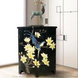 现代中式三角柜手绘彩绘实木柜花鸟柜