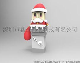 厂家定制PVC软胶材质圣诞老人公仔多功能移动电源