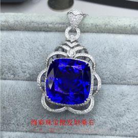 绚彩珠宝批发18K白金坦桑蓝宝石吊坠以及高级珠宝坦桑石吊坠订制 自有工厂,厂家发货价格很优惠