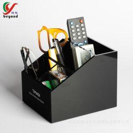 定做亚克力家居用品收纳盒黑色亚克力遥控器收纳盒桌面