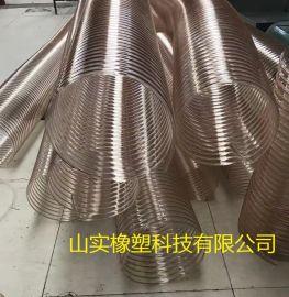 工业耐磨大口径聚氨酯抽吸颗粒粉尘软管,TPU钢丝抽排除尘管生产厂家