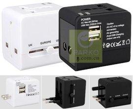 双USB**旅行转换插头(USB輸出:2.5A)全球通萬能插座/转换插头
