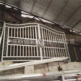 定制方管焊接金属门工艺氟碳白色防盗铝合金门