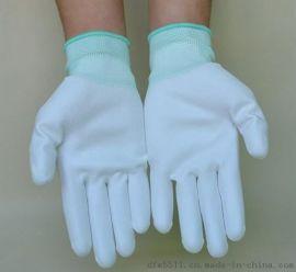 尼龙PU涂掌手套白色防静电涂层胶劳保手套厂家直销
