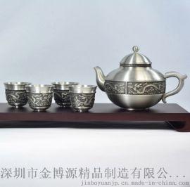 纯锡瑞气东升茶具套装 纯手工锡器 茶杯茶壶套装