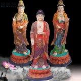 西方三圣佛像站像贴金身西方三圣神像豫莲花寺庙雕塑厂