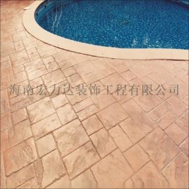 海口游乐场游泳池压膜地坪,防水防滑防油混泥土地坪