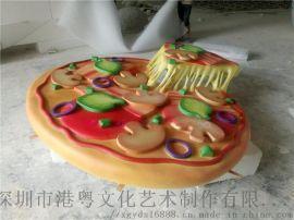 现代颇受欢迎玻璃钢仿真西式披萨雕塑店面迎宾食品摆件