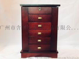 紅木復古六層珠寶首飾收納盒帶化妝鏡定製品