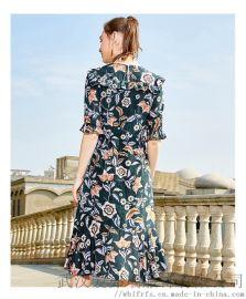 服装店一般去几次拿货花**高腰印花连衣裙厂家