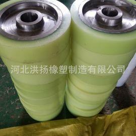 聚氨酯包胶辊定制 铁芯包聚氨酯件 高耐磨包胶辊轴