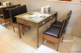 供应餐厅铁制自助多功能餐桌 节省服务员的湖北玻璃面铁制餐桌